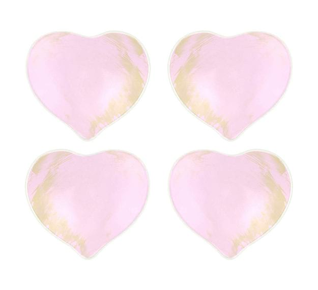 Pink Heart Plates for Romantic Valentine's Day in Bed by Anna Vasily - Set View