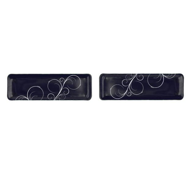 Modern Navy Blue Floral Petit Fours Plate Designed by Anna Vasily - Set View