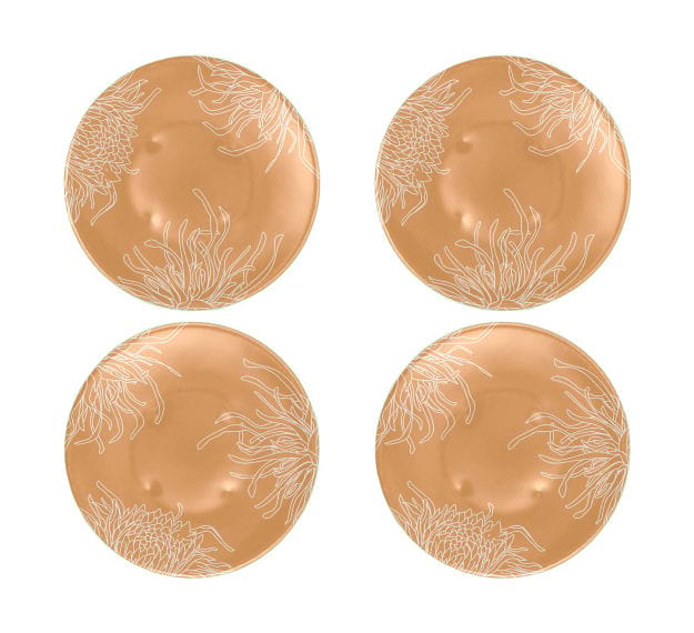 Floral Gold Dinner Plates with a Matte Finish Designed by Anna Vasily - Set View