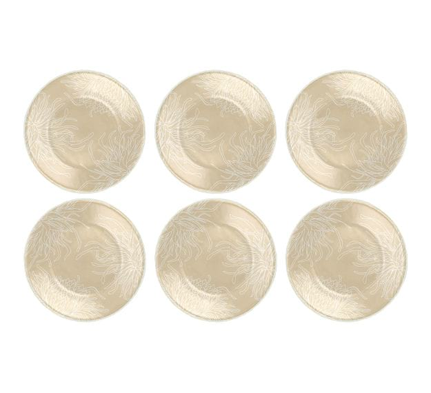 Round Small Side Plates in Beige with Floral Pattern by Anna Vasily - Set View
