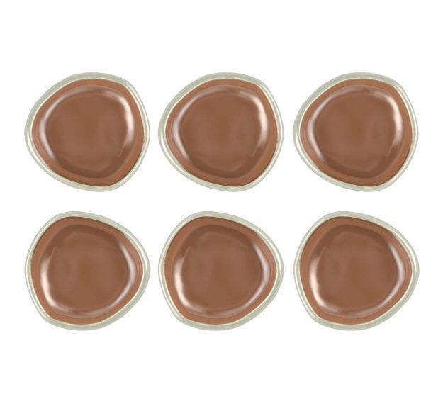 Organic Mini Canape Dish in Metallic Brown Designed by Anna Vasily - Set View