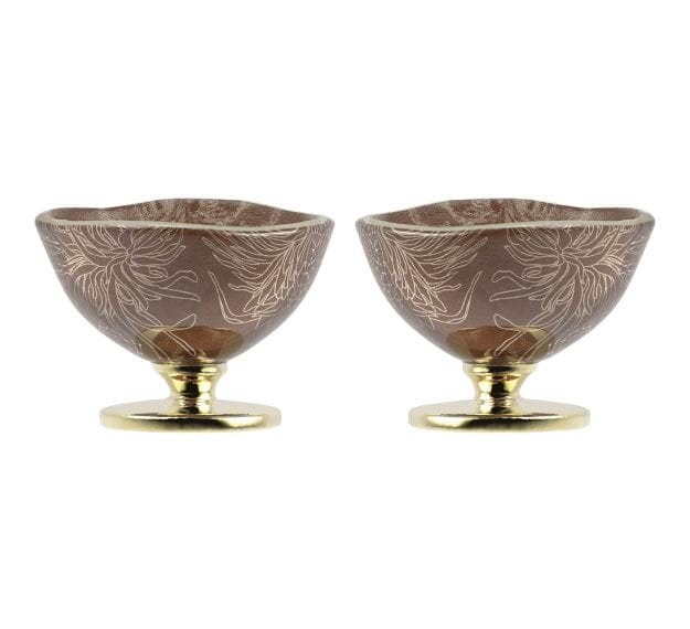 Handcrafted Doe Brown Sorbet Bowls with Floral Pattern by Anna Vasily - Set View
