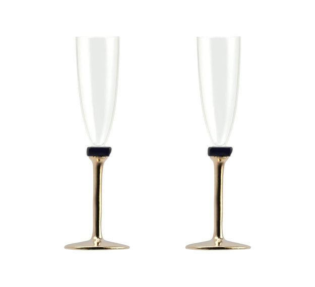 Set/2 Designer Champagne Glasses Designer Glassware by Anna Vasily - Set View