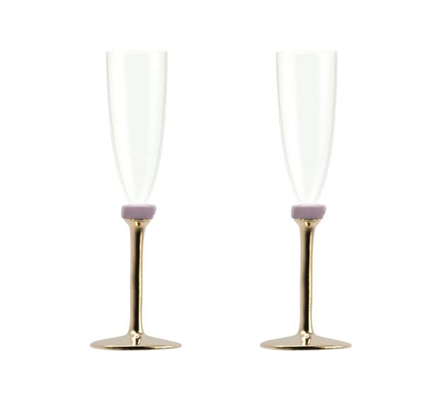 Gold Champagne Glasses With Bronze Stem Designed by Anna Vasily - Set View
