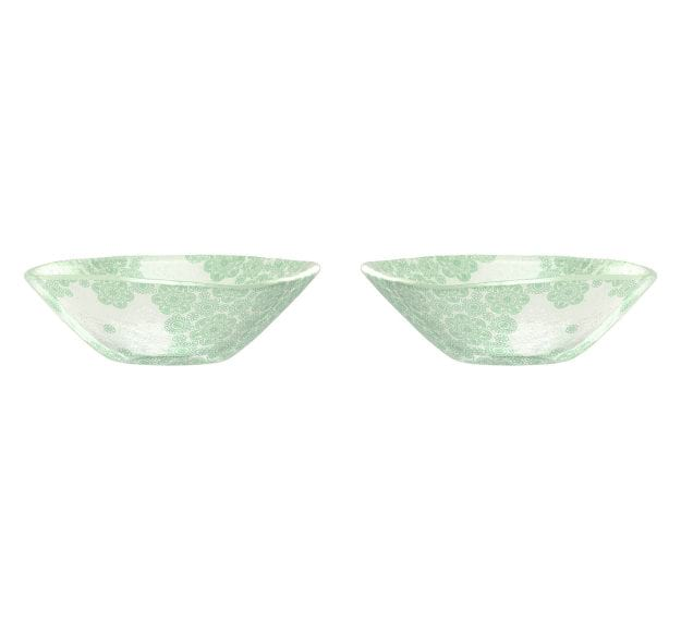 Green Rice Bowl With Pattern An Organic Glass Bowl by Anna Vasily - Set View