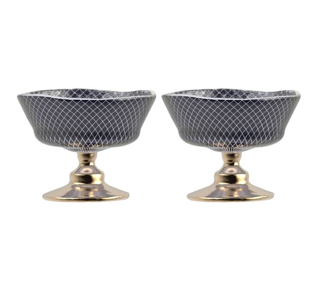 Elegant Navy Blue Dessert Bowls with Pattern Designed by Anna Vasily - Set View