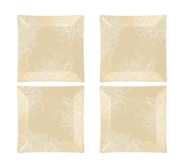 Floral Dinner Plates in Metallic Beige Designed by Anna Vasily - Set View