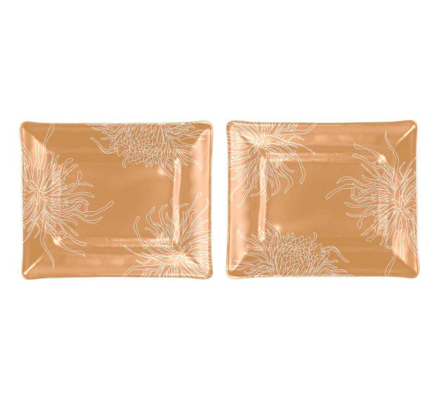 Gold Dinner Plates with Chrysanthemums Designed by AnnaVasily - Set View