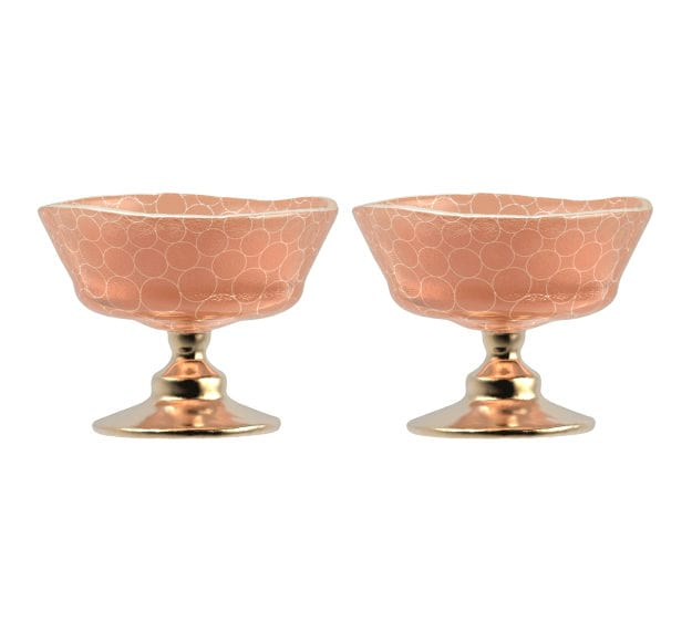 Rose Gold Ice Cream Bowl Set of 2 Designed by Anna Vasily - Set View