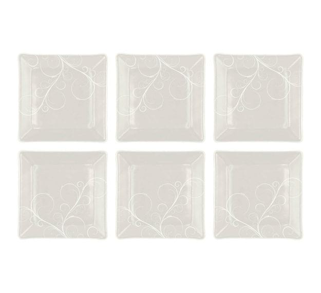 Handcrafted Square Floral White Side Plates Designed by Anna Vasily - Set View