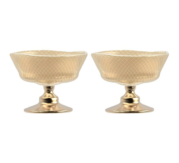 Set/2 Sandy Beige Footed Ice Cream Bowls Designed by Anna Vasily - Set View