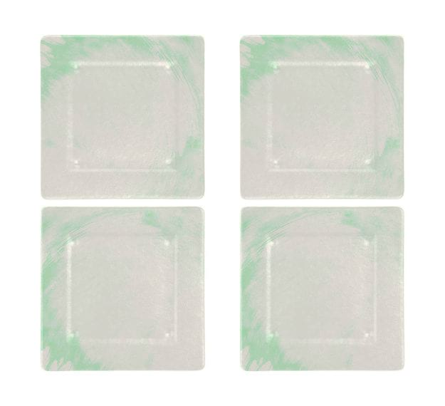 Square Charger Plates in White and Green Designed by Anna Vasily - Set View
