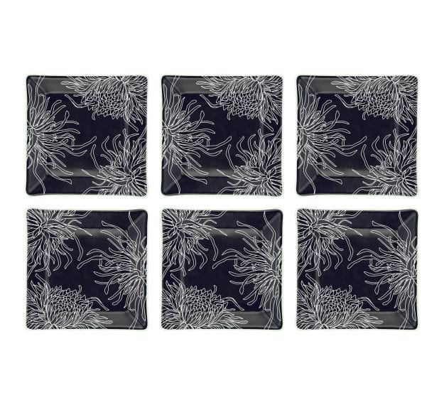 Navy Blue Square Side Plates, Floral Tones by Anna Vasily - Set View