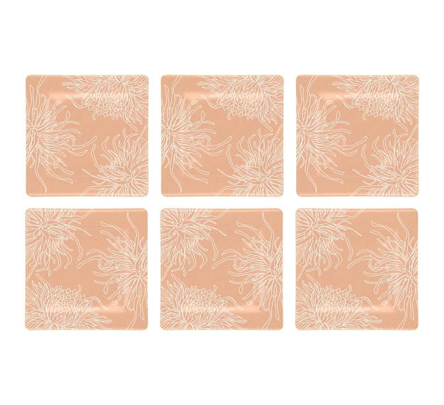 Rose Coloured Square Side Plates Designed with Style by Anna Vasily - Set View