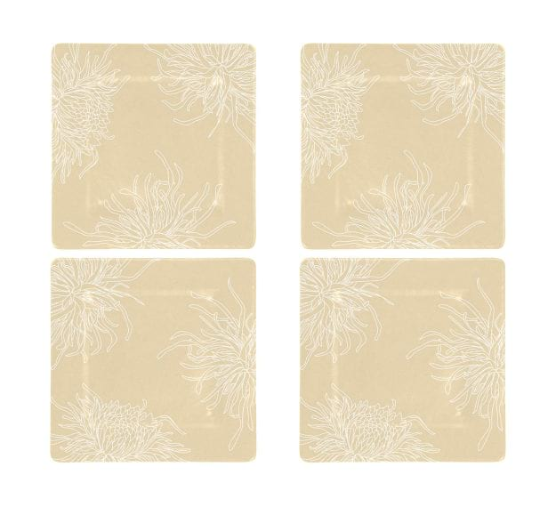 Floral Charger Plates in Cream-Beige Designed by Anna Vasily - Set View