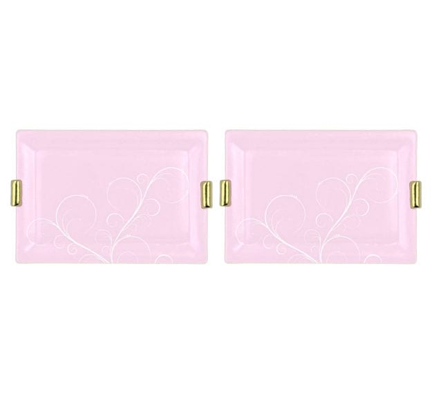 Pink Charger Plates with Shiny Brass Handles Designed by Anna Vasily - Set View