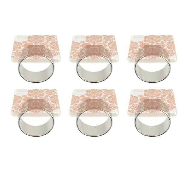 Matte Gold Square Napkin Ring Holder Designed by Anna Vasily - Set View