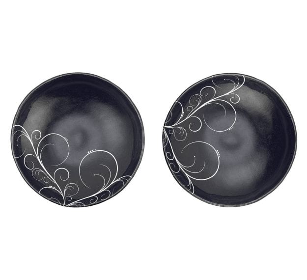 Navy Blue Round Salad Bowl with Floral Pattern by Anna Vasily - Set View