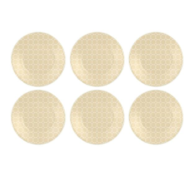 Handcrafted Pretty Side Plates in Beige Designed by Anna Vasily - Set View