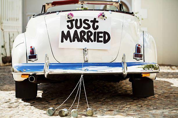 Wedding ideas - beetle, vintage car, just married, beer cans
