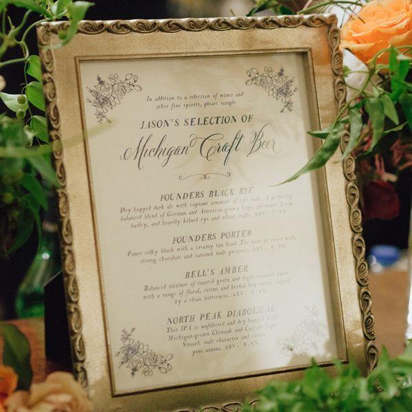 Wedding ideas - beer menu in gold frame