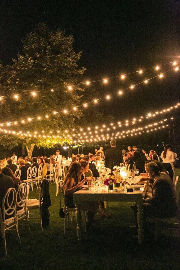 Wedding ideas - night wedding in fairy light setting