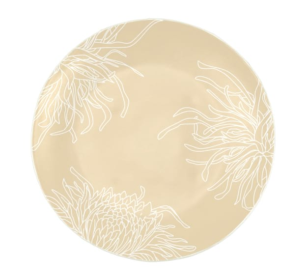 Round Risotto Plate in Cream with Floral Motifs by Anna Vasily - Top View