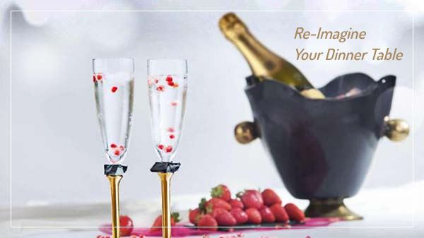 Wine Accessories AnnaVasily. Sets of champagne glasses and ice buckets that bring sophistication to any party.