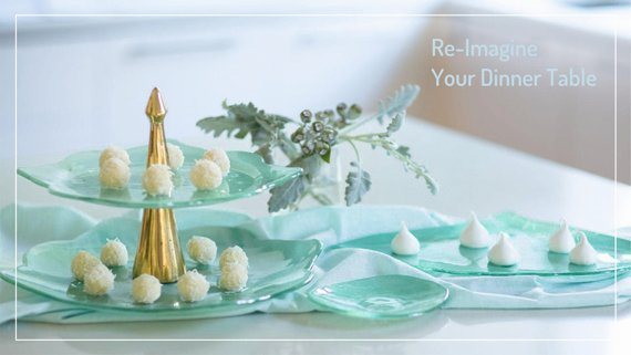 Elegant Dinnerware AnnaVasily. A lovely selection of mint green dinnerware.