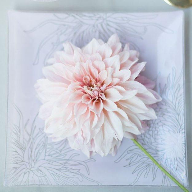 Square Pink Dessert Plates Kyra by Anna Vasily
