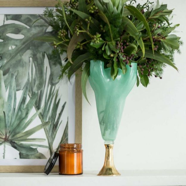 Tall Footed Green Glass Vase On Pedestal Musa by Anna Vasily