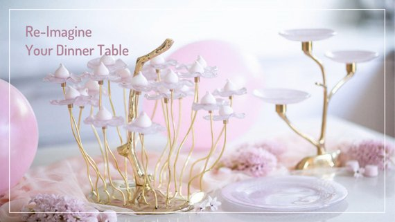 Pink Tableware AnnaVasily. Graceful and elegant high tea stands in pink pastel. and hand polished bronze pedestals.
