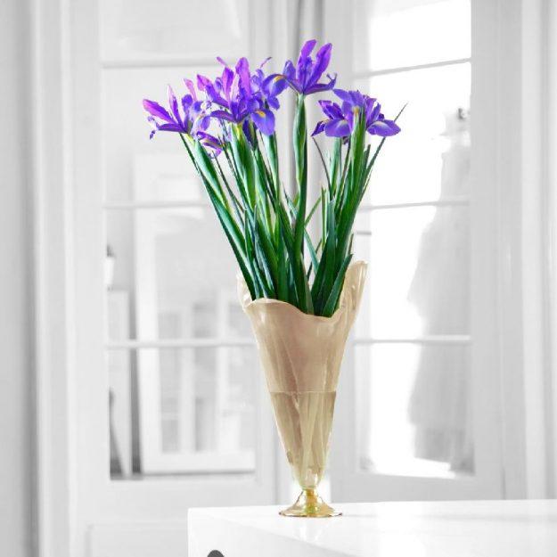 Irregular Shaped Large Glass Vase On Pedestal