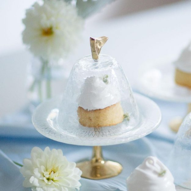 Designer Small Glass Cake Stand with Lid Vero by Anna Vasily