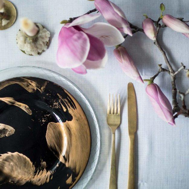 Blue & Gold Designer Dinner Plates Set/4 Vossi by Anna Vasily
