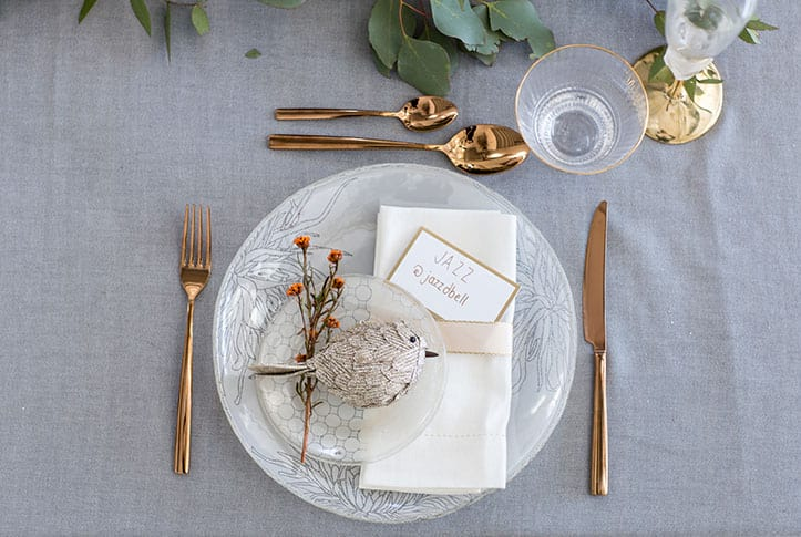 mismatched dinnerware - white and gold table setting - christmas in july