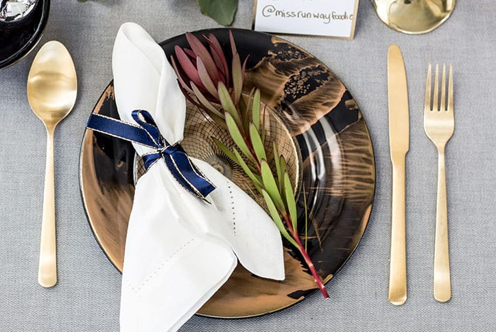 blue gold place setting - christmas in july - luxurious dinnerware