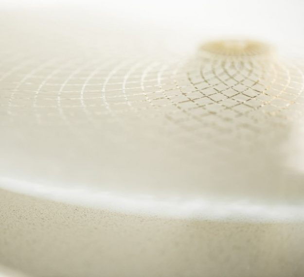 Closeup of Glass Cake Holder, Alica Sandy Beige Glass Cake Stand on Pedestal by Anna Vasily