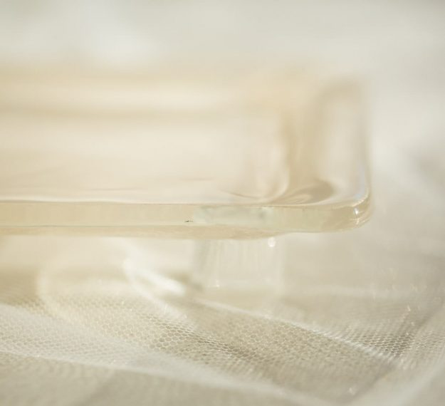 Closeup of Glass Petit Fours Plate