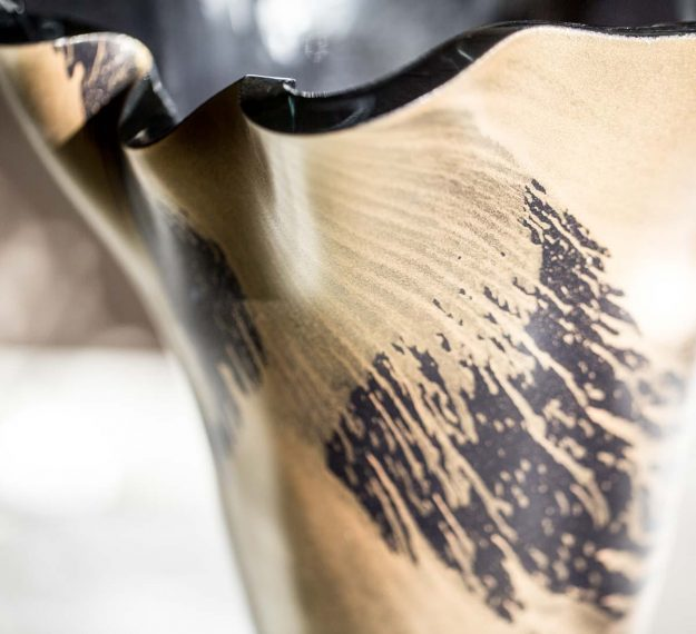 Closeup of Navy Blue Flower Vase with Gold Highlights by Anna Vasily