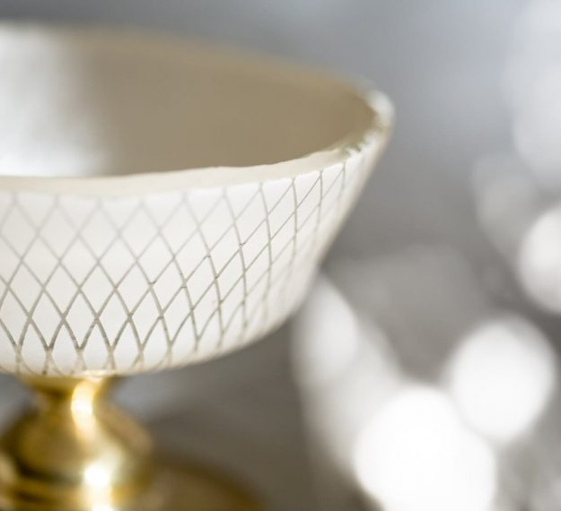 Closeup of Footed Ice Cream Bowls, Mardy Beige Trifle Glasses with Brass Stem - Anna Vasily