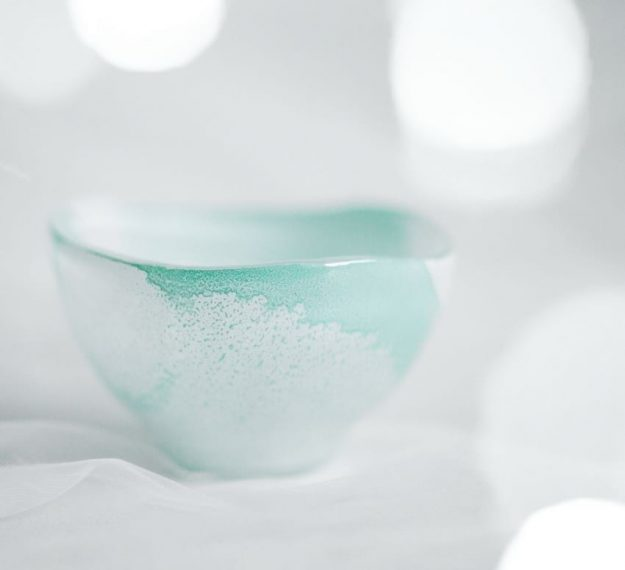Organic Small White Green Noodle Bowl, Paige Set of 4 Organic Shaped Asian Bowls by Anna Vasily