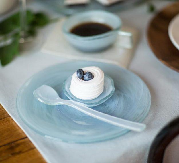 Organic mini dessert dish, Cass set of 6 handmade light blue mini plates from glass by Anna Vasily.