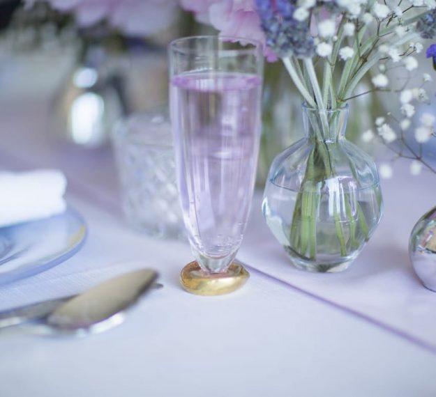 Luxury stemless champagne glasses Celes set/2 handmade stemless glasses for weddings by Anna Vasily.