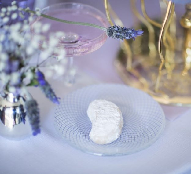 Small white patterned plates with violet