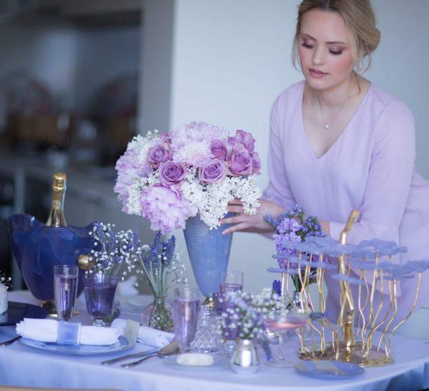 Elegant violet vase on pedestal