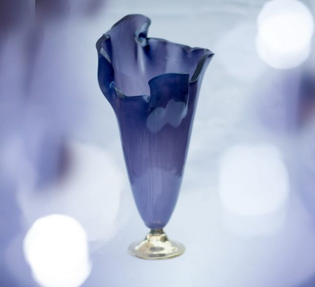 Designer purple glass vase, Flore Ultra Violet Pantone purple vase on pedestal by Anna Vasily.