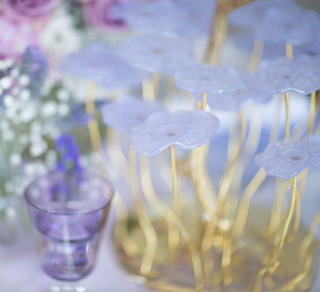 Designer purple dessert stand centerpiece