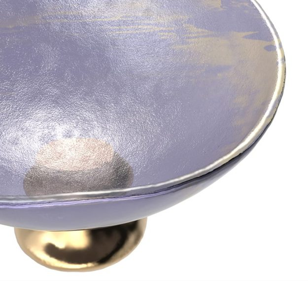 Light Purple Fruit Bowl - Mano Decorative Glass Bowl | AnnaVasily - Detail View