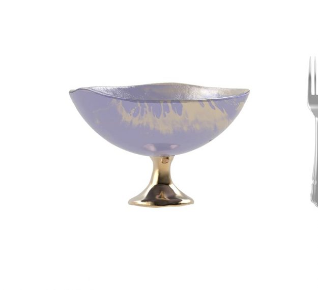 Light Purple Fruit Bowl - Mano Decorative Glass Bowl | AnnaVasily - Measure View